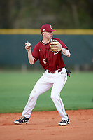 Boston College Eagles second baseman Brian Dempsey (6) throws to first base during a game against the Minnesota Golden Gophers on February 23, 2018 at North Charlotte Regional Park in Port Charlotte, Florida.  Minnesota defeated Boston College 14-1.  (Mike Janes/Four Seam Images)