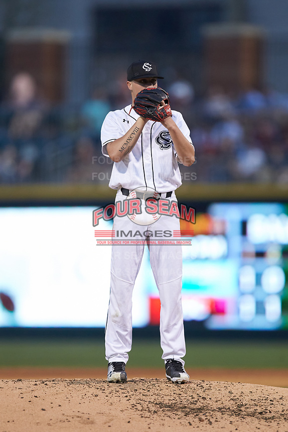 South Carolina Gamecocks starting pitcher Logan Chapman (22) looks to his catcher for the sign against the North Carolina Tar Heels at BB&T BallPark on April 3, 2018 in Charlotte, North Carolina. The Tar Heels defeated the Gamecocks 11-3. (Brian Westerholt/Four Seam Images)