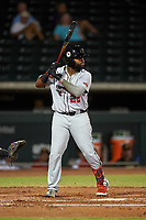 Scottsdale Scorpions Trey Harris (22), of the Atlanta Braves organization, at bat during an Arizona Fall League game against the Mesa Solar Sox on September 18, 2019 at Sloan Park in Mesa, Arizona. Scottsdale defeated Mesa 5-4. (Zachary Lucy/Four Seam Images)