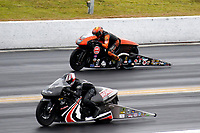 27th September 2020, Gainsville, Florida, USA;  Pro Stock Motorcycle drivers Ryan Oehler (9) and John Hall (1628) during the 51st annual Amalie Motor Oil NHRA Gatornationals