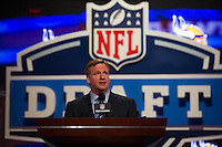 NFL commissioner Roger Goodell during the first round of the 2012 NFL Draft at Radio City Music Hall in New York, NY, on April 26, 2012.