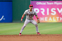 Shortstop Beau Philip (5) of the Rome Braves in a game against the Greenville Drive on Friday, August 6, 2021, at Fluor Field at the West End in Greenville, South Carolina. (Tom Priddy/Four Seam Images)