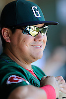 First baseman Cisco Tellez (48) of the Greenville Drive smiles before a game game against the Charleston RiverDogs on Sunday, June 28, 2015, at Fluor Field at the West End in Greenville, South Carolina. Charleston won, 12-9. (Tom Priddy/Four Seam Images)