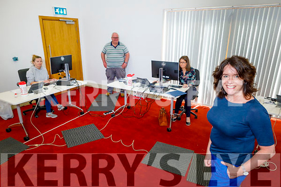 Niamh O'Sullivan, Head of Kerry County Council's Community Department at the COVID-19 Kerry Community Response call centre in Killorglin on Tuesday.<br /> Front left: Niamh O'Sullivan.<br /> Back l to r: Ann Fitzgerald, Colin Clifford and Eileen O'Donoghue.