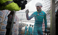 Vincenzo Nibali (ITA/Astana) signing in on the start podium<br /> <br /> 106th Milano - San Remo 2015