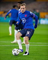 13th October 2020; Molineux Stadium, Wolverhampton, West Midlands, England; UEFA Under 21 European Championship Qualifiers, Group Three, England Under 21 versus Turkey Under 21; Oliver Skipp of England with the ball at his feet takes a shot at goal during the warm up