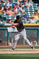 Myles Straw (20) of the Fresno Grizzlies bats against the Salt Lake Bees at Smith's Ballpark on September 3, 2018 in Salt Lake City, Utah. The Grizzlies defeated the Bees 7-6. (Stephen Smith/Four Seam Images)