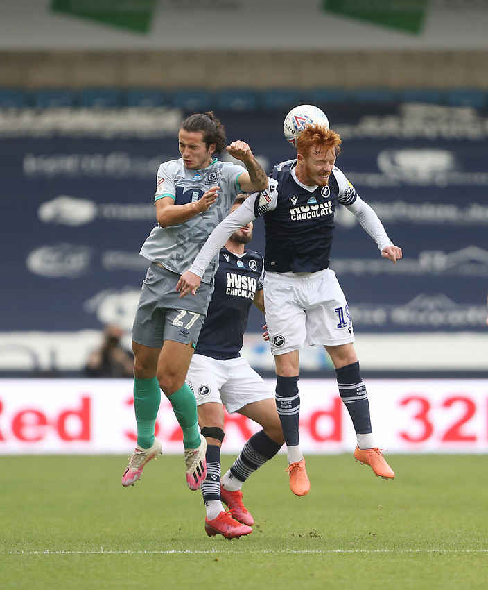 Blackburn Rovers' Lewis Travis and Ryan Woods<br /> <br /> Photographer Rob Newell/CameraSport<br /> <br /> The EFL Sky Bet Championship - Millwall v Blackburn Rovers - Tuesday July 14th 2020 - The Den - London<br /> <br /> World Copyright © 2020 CameraSport. All rights reserved. 43 Linden Ave. Countesthorpe. Leicester. England. LE8 5PG - Tel: +44 (0) 116 277 4147 - admin@camerasport.com - www.camerasport.com