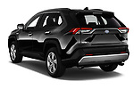 Car pictures of rear three quarter view of 2019 Toyota RAV4 Premium-hybrid 5 Door SUV Angular Rear