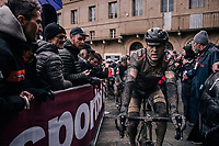 Greg Van Avermaet (BEL/BMC) rolling in after a (for him) dissapointing day.<br /> <br /> 12th Strade Bianche 2018<br /> Siena > Siena: 184km (ITALY)