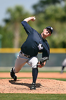 Pitcher Nick Rumbelow (6) of the New York Yankees organization during a minor league spring training game against the Pittsburgh Pirates on March 22, 2014 at Pirate City in Bradenton, Florida.  (Mike Janes/Four Seam Images)