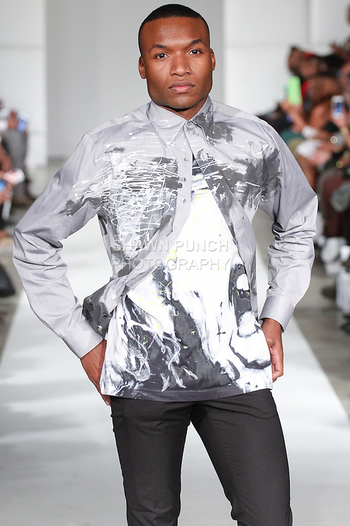 Model walks runway in an outfit from the Underground Market Clothing Spring Summer 2015 collection by Ken Shep, during Fashion Week Brooklyn Spring Summer 2015.