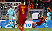 Roma s Edin Dzeko, second from right, scores during the Uefa Champions League quarter final second leg football match between AS Roma and FC Barcelona at Rome's Olympic stadium, April 10, 2018.<br /> UPDATE IMAGES PRESS/Riccardo De Luca