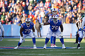 Buffalo Bills tackled Jordan Mills (79) and guard John Miller (76) on the line during an NFL football game against the New York Jets, Sunday, December 9, 2018, in Orchard Park, N.Y.  (Mike Janes Photography)