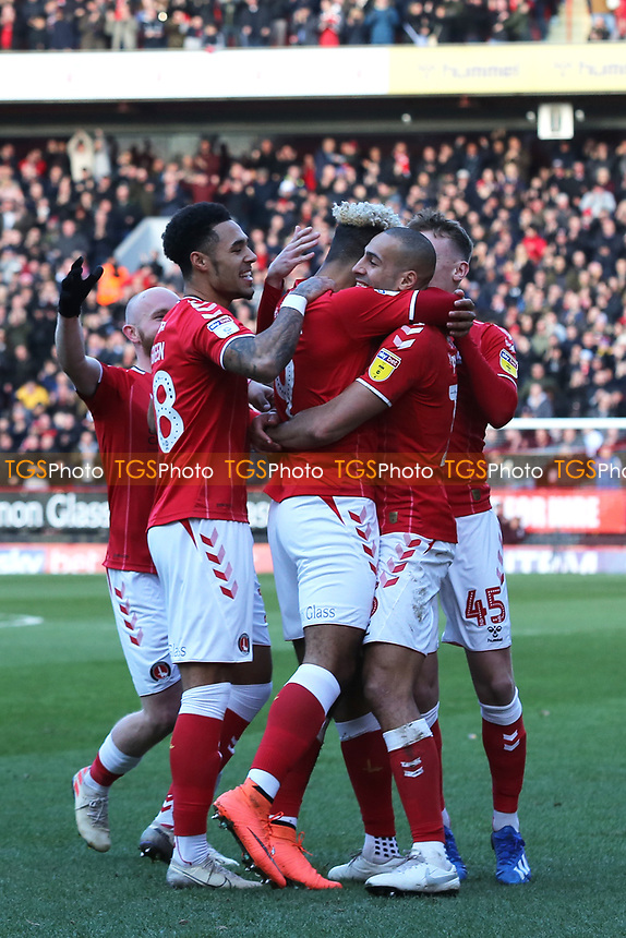 Charlton players congratulate Lyle Taylor after scoring their opening goal during Charlton Athletic vs Barnsley, Sky Bet EFL Championship Football at The Valley on 1st February 2020