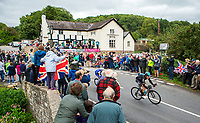Picture by Alex Whitehead/SWpix.com - 10/09/2017 - Cycling - OVO Energy Tour of Britain - Stage 8, Worcester to Cardiff - Geraint Thomas of Team Sky leads the peloton through the village of Mordiford.