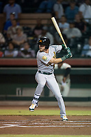 Mesa Solar Sox right fielder Skye Bolt (10), of the Oakland Athletics organization, at bat during an Arizona Fall League game against the Scottsdale Scorpions on October 9, 2018 at Scottsdale Stadium in Scottsdale, Arizona. The Solar Sox defeated the Scorpions 4-3. (Zachary Lucy/Four Seam Images)