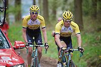 Mike Teunissen (NLD/LottoNL-Jumbo) & Jos van Emden (NLD/LottoNL-Jumbo) up the Côte de Wanne (2200m/7.5%)<br /> <br /> 101th Liège-Bastogne-Liège 2015