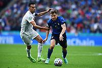 6th July 2021; Wembley Stadium, London, England; Euro 2020 Football Championships semi-final, Italy versus Spain;  Sergio Busquets beaten by the run from Nicolo Barella (Ita)