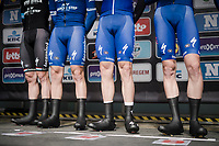 the Team Deceuninck - Quick Step guns at the race start in Roeselare<br /> <br /> 74th Dwars door Vlaanderen 2019 (1.UWT)<br /> One day race from Roeselare to Waregem (BEL/183km)<br /> <br /> ©kramon