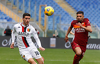 Genoa's Paolo Ghiglione, left, and Roma's Bruno Peres chase the ball during the Italian Serie A Football match between Roma and Genoa at Rome's Olympic stadium, March 7, 2021.<br /> UPDATE IMAGES PRESS/Riccardo De Luca
