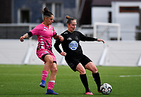 Woluwe's Stefanie Deville (3) pictured in a fight for the ball with forward Ylenia Carabott of Sporting Charleroi during a female soccer game between Sporting Charleroi and FC Femina White Star Woluwe on the second matchday of the 2020 - 2021 season of Belgian Scooore Women s SuperLeague , friday 4 th of September 2020  in Marcinelle , Belgium . PHOTO SPORTPIX.BE | SPP | DAVID CATRY