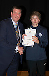 St Johnstone FC Academy Awards Night...06.04.15  Perth Concert Hall<br /> Tommy Wright presents a certificate to David Brown<br /> Picture by Graeme Hart.<br /> Copyright Perthshire Picture Agency<br /> Tel: 01738 623350  Mobile: 07990 594431