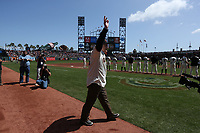 """SAN FRANCISCO, CA - APRIL 8:  John """"The Count"""" Montefusco of the San Francisco Giants waves to the fans during a pre-game ceremony before the game against the Los Angeles Dodgers at AT&T Park on Sunday, April 8, 2018 in San Francisco, California. (Photo by Brad Mangin)"""