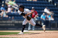 Scranton/Wilkes-Barre RailRiders starting pitcher Deivi García (6) follows through on his delivery against the Rochester Red Wings at PNC Field on July 25, 2021 in Moosic, Pennsylvania. (Brian Westerholt/Four Seam Images)