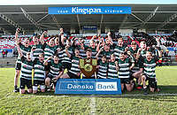 Tuesday 10th March 2020 | Campbell College vs RBAI <br /> <br /> Campbell captain Flynn Longstaff celebrates with his team after the 2020 Medallion Shield Final between Campbell College and RBAI at Kingspan Stadium, Ravenhill Park, Belfast, Northern Ireland. Photo by John Dickson / DICKSONDIGITAL