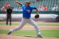Iowa Cubs starting pitcher Williams Perez (39) delivers a pitch during a game against the Memphis Redbirds on May 29, 2017 at AutoZone Park in Memphis, Tennessee.  Memphis defeated Iowa 6-5.  (Mike Janes/Four Seam Images)