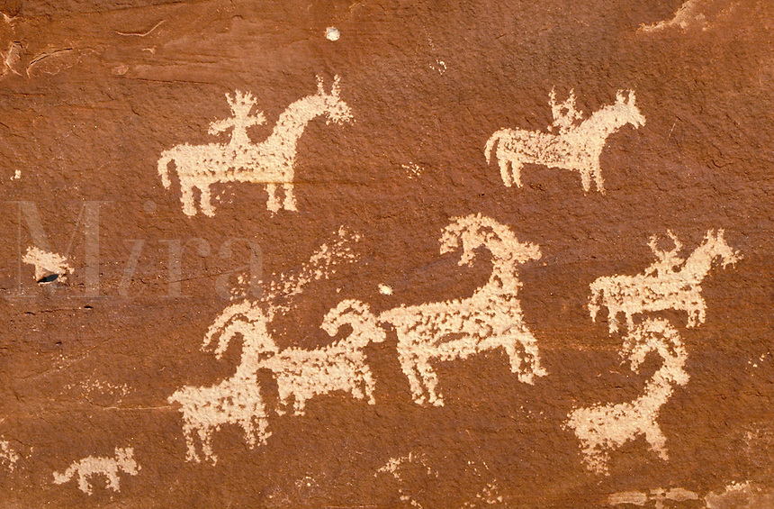 Ute Indian rock art, Petroglyphs. Utah USA Arches National Park.