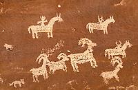 Ute Indian rock art, Petroglyphs. Utah USA Arches National Park.