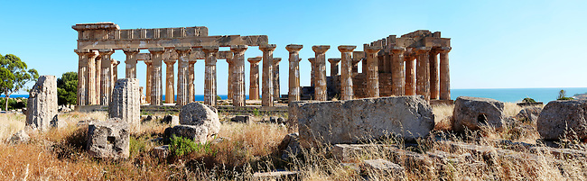 Fallen column drums of Greek Dorik Temple ruins  Selinunte, Sicily photography, pictures, photos, images & fotos. 60 Greek Dorik Temple columns of the ruins of the Temple of Hera, Temple E, Selinunte, Sicily