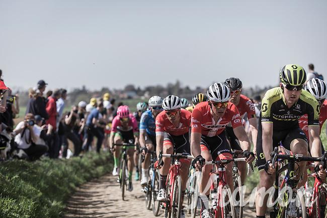 Mads Pedersen (DEN/Trek Segafredo) following the wheel of Matteo Trentin (ITA/Scott Mitchelton)<br /> <br /> 116th Paris-Roubaix (1.UWT)<br /> 1 Day Race. Compiègne - Roubaix (257km)