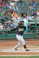 Visalia Rawhide shortstop Domingo Leyba (2) at bat during a game against the Stockton Ports at Banner Island Ballpark on August 15, 2015 in Stockton, California. Visalia defeated Stockton 9-1. (Robert Gurganus/Four Seam Images)