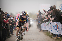 Yves LAMPAERT (BEL/Deceuninck-Quick Step) on his way to finishing 3rd<br /> <br /> 117th Paris-Roubaix 2019 (1.UWT)<br /> One day race from Compiègne to Roubaix (FRA/257km)<br /> <br /> ©kramon