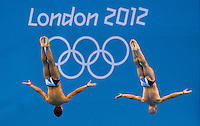 30 JUL 2012 - LONDON, GBR - Tom Daley (GBR) (left) and Peter Waterfield (GBR) (right) of Great Britain diving during the Mens 10m Synchronised Diving at the London 2012 Olympic Games event in the Aquatics Centre in the Olympic Park, Stratford, London, Great Britain .(PHOTO (C) 2012 NIGEL FARROW)