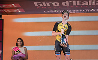 a super happy stage winner Jos Van Emden (NED/LottoNL-Jumbo) serves himself to a champagne shower on the podium in Milano<br /> <br /> stage 21: Monza - Milano (29km)<br /> 100th Giro d'Italia 2017