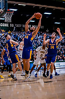 9 February 2019: University at Albany Great Dane Forward Kendall Lauderdale, a Junior from Fullerton, CA, pulls in a first-half rebound against the University of Vermont Catamounts at Patrick Gymnasium in Burlington, Vermont. The Catamounts defeated the Danes 67-49 in their America East matchup. Mandatory Credit: Ed Wolfstein Photo *** RAW (NEF) Image File Available ***