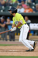 Desinated hitter J.J. Franco (2) of the Columbia Fireflies bats in a game against the Rome Braves on Sunday, August 20, 2017, at Spirit Communications Park in Columbia, South Carolina. Rome won, 11-6 in 16 innings. (Tom Priddy/Four Seam Images)