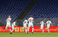 Benevento s Gianluca Caprari, second from right, celebrates with his teammates after scoring a goal during the Serie A soccer match between Roma and Benevento at Rome's Olympic Stadium, October 18, 2020.<br /> UPDATE IMAGES PRESS/Riccardo De Luca