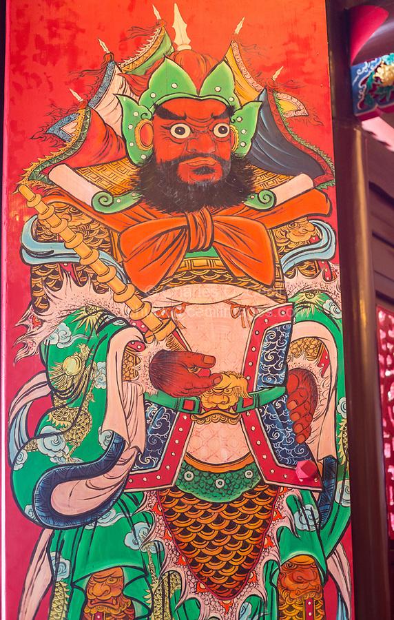 George Town, Penang, Malaysia.  Door Guardian at Cheah Kongsi, a Hokkien Clan Association Temple and Clan House.