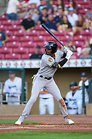 Wisconsin Timber Rattlers Je'Von Ward (4) bats during a game against the Cedar Rapids Kernels on August 17, 2021 at Perfect Game Field in Cedar Rapids, Iowa.  (Mike Janes/Four Seam Images)