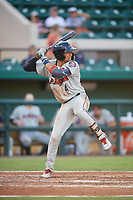 Fort Myers Miracle shortstop Royce Lewis (4) at bat during a game against the Lakeland Flying Tigers on August 7, 2018 at Publix Field at Joker Marchant Stadium in Lakeland, Florida.  Fort Myers defeated Lakeland 5-0.  (Mike Janes/Four Seam Images)