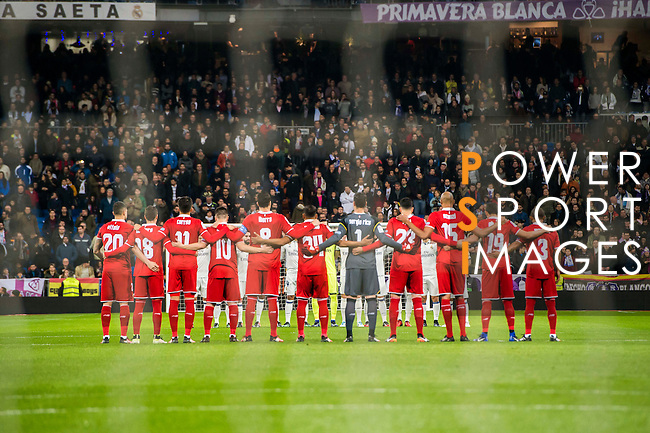 Players of Sevilla FC  line up and pose for a photo during their Copa del Rey Round of 16 match between Real Madrid and Sevilla FC at the Santiago Bernabeu Stadium on 04 January 2017 in Madrid, Spain. Photo by Diego Gonzalez Souto / Power Sport Images