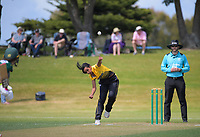 Maneka Singh bowls during the women's Hallyburton Johnstone Shield one-day cricket match between the Wellington Blaze and Central Hinds at Donnelly Park in Levin, New Zealand on Sunday, 6 December 2020. Photo: Dave Lintott / lintottphoto.co.nz