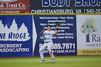 Pulaski Yankees left fielder Antonio Cabello (22) settles under a fly ball during the game against the Burlington Royals at Calfee Park on August 31, 2019 in Pulaski, Virginia. The Yankees defeated the Royals 6-0. (Brian Westerholt/Four Seam Images)
