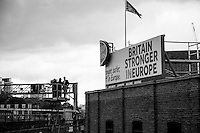"""Interview at high altitude...<br /> <br /> London, March-July 2016. Reporting the EU Referendum 2016 (Campaign, result and outcomes) observed through the eyes (and the lenses) of an Italian freelance photojournalist (UK and IFJ Press Cards holder) based in the British Capital with no """"press accreditation"""" and no timetable of the main political parties' events in support of the RemaIN Campaign or the Leave the EU Campaign. <br /> On the 23rd of June 2016 the British people voted in the EU Referendum... (Please find the caption on PDF at the beginning of the Reportage).<br /> <br /> For more information about the result please click here: http://www.bbc.co.uk/news/politics/eu_referendum/results"""
