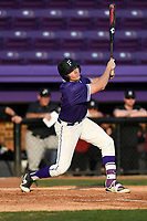 First baseman Brandon Elmy (43) of the Furman Paladins bats in game two of a doubleheader against the Harvard Crimson on Friday, March 16, 2018, at Latham Baseball Stadium on the Furman University campus in Greenville, South Carolina. Furman won, 7-6. (Tom Priddy/Four Seam Images)